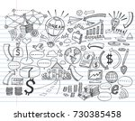 hand drawn business on lined... | Shutterstock .eps vector #730385458