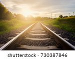 railway tracks with sunset... | Shutterstock . vector #730387846