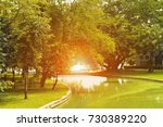 river in the natural park with... | Shutterstock . vector #730389220
