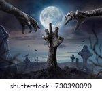 zombie hands rising in dark... | Shutterstock . vector #730390090