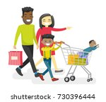 happy multiracial family with... | Shutterstock .eps vector #730396444