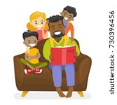 young happy african american... | Shutterstock .eps vector #730396456