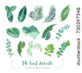 tropical leaves vector big... | Shutterstock .eps vector #730397548