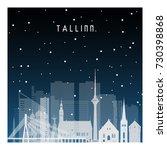 winter night in tallinn. night... | Shutterstock .eps vector #730398868