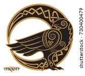raven hand drawn in celtic... | Shutterstock .eps vector #730400479