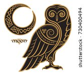 owl hand drawn in celtic style  ... | Shutterstock .eps vector #730400494