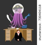 businessman scared under table... | Shutterstock .eps vector #730404118