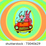 Girl and Bunny in Vintage Car (vector) - stock vector