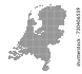 dotted map of netherlands | Shutterstock .eps vector #730406539