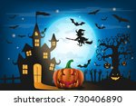 happy halloween background with ... | Shutterstock .eps vector #730406890