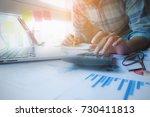 businessman financial hand...   Shutterstock . vector #730411813