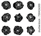 black silhouette of rose | Shutterstock .eps vector #730426300