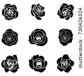 black silhouette of rose | Shutterstock .eps vector #730426324