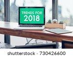 trends for 2018 word in laptop... | Shutterstock . vector #730426600