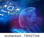 3d rendering futuristic blue... | Shutterstock . vector #730427146
