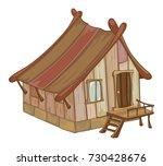 vector illustration old  house... | Shutterstock .eps vector #730428676
