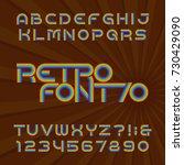 retro stripe alphabet font.... | Shutterstock .eps vector #730429090
