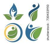people leaf logo set | Shutterstock .eps vector #730433950