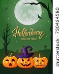 halloween background  pumpkin ... | Shutterstock .eps vector #730434580