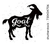 goat silhouette with a... | Shutterstock .eps vector #730434706