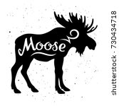 moose silhouette with a... | Shutterstock .eps vector #730434718