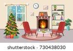 christmas room interior.... | Shutterstock .eps vector #730438030