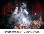 scientist inventor steampunk... | Shutterstock . vector #730438936