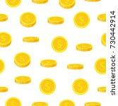 golden coin seamless pattern in ...   Shutterstock .eps vector #730442914