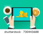 money on tablet vector... | Shutterstock .eps vector #730443688
