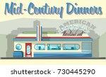 mid century roadside restaurant ...   Shutterstock .eps vector #730445290