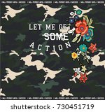 camouflage pattern with flowers ...   Shutterstock .eps vector #730451719
