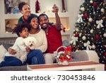 christmas selfie   afro... | Shutterstock . vector #730453846