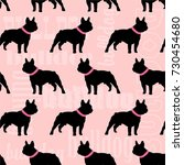 bulldog stylish seamless pattern | Shutterstock .eps vector #730454680