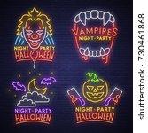 Big set neon logo, label, emblem. Happy Halloween. Neon sign, bright signboard, light banner.