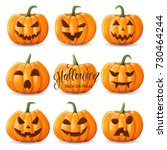 set of halloween pumpkins ... | Shutterstock .eps vector #730464244