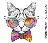 Stock vector hand drawn portrait of cat in glasses with bow tie vector illustration isolated on white 730466323