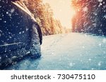 car on winter road in the... | Shutterstock . vector #730475110