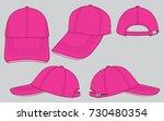 pink baseball cap for template | Shutterstock .eps vector #730480354