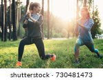 two athletic female friends... | Shutterstock . vector #730481473