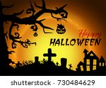 scary halloween background with ... | Shutterstock .eps vector #730484629