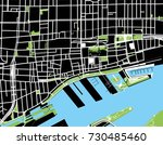 montreal black and white map | Shutterstock .eps vector #730485460