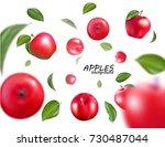 vector falling red apples... | Shutterstock .eps vector #730487044