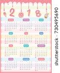 twelve month calendar of 2018...   Shutterstock .eps vector #730495690