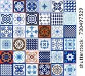 vintage set of checkered... | Shutterstock .eps vector #730497529