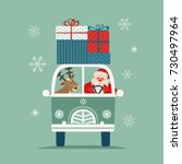 happy holiday poster. cute deer ... | Shutterstock .eps vector #730497964