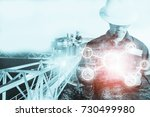 double exposure of engineer or... | Shutterstock . vector #730499980