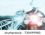 double exposure of engineer or... | Shutterstock . vector #730499980