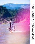the surfer enjoying a walk with ... | Shutterstock . vector #730502458