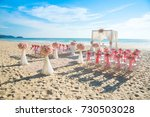 romantic wedding ceremony on...   Shutterstock . vector #730503028