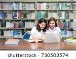 asian happy students with... | Shutterstock . vector #730503574